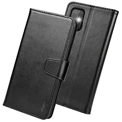 Migeec Handyhülle Kompatibel mit Samsung Galaxy A51 Leder Hülle Tasche Flip Cover Schutzhülle - Schwarz
