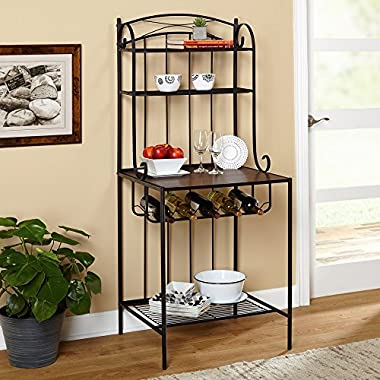 Target Marketing Systems Kingston Collection Traditional Style Metal Bakers Kitchen Storage Rack, Large, Black/Espresso