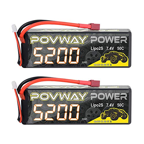 POVWAY 5200mAh 2S LiPo Battery 50C 7.4V RC Battery Hard Case for RC Cars, RC Truck, RC Airplane, RC Helicopter, Drone, Quadcopter (52002S50C-2pack)