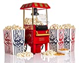 WICKED GIZMOS Red Electric 1200W Carnival Fairground Healthy Popcorn Maker - With 6 Serving Boxes and Measuring Scoop