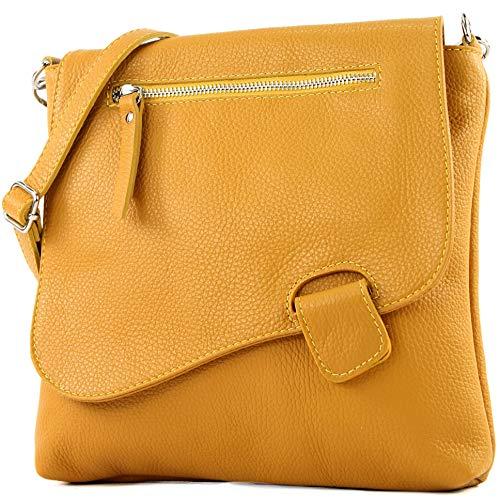 modamoda de - T146 - ital Messengertasche Umhängetasche aus Leder, Farbe:Senfgelb