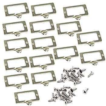16 Pieces 59 x 45mm Office Library File Drawer Cabinet Card Tag Label Holder Drawer Pull with Screws Metal Pull Card Label Frames Holders Tag Pull Cabinet Frame Handle Silver Tone