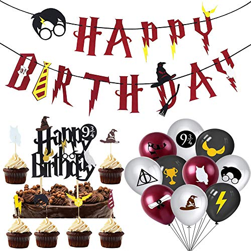 Artículos de Fiesta para Harry Potter BESLIME Suministros para la Fiesta de Harry Potter, Estandarte de cumpleaños, Harry Potter Inspired Cupcake Toppers, Globo de látex