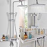 Gnailur Luxury Solid Brass Blanco y Chrome Montado en la pared Set de la ducha del baño