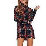 Vestido de fiesta sexy corto mini para mujer manga larga otoño invierno,paolian vestido ajustado cuadros cuello alto casual vestido de punto jerséis sexy vintage elegantes suéter rojo