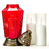 Taultic Lights Cemetery Memorial Candle | Gravesite Remembrance Decor | Tall Red Glass Lantern Candle Holder with Heat Resistant Snap On Plastic Top and Base for Both Outdoor and Indoor | Prayer Card