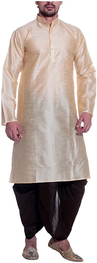 Royal Men's Silk Blend Dhoti & Kurta Set_Gold
