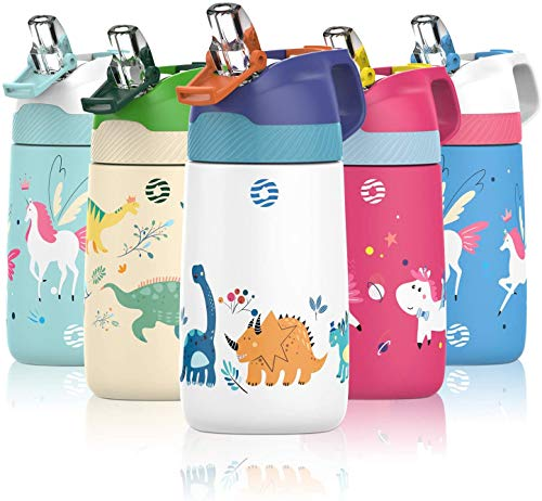 FJbottle Borraccia Bambini acciaio inox con cannuccia, Senza BPA- Termos 350ml,...