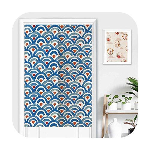 Cortinas japonesas Noren para puerta, diseño romántico de cerezo, 85 x 150 cm, azul, 2