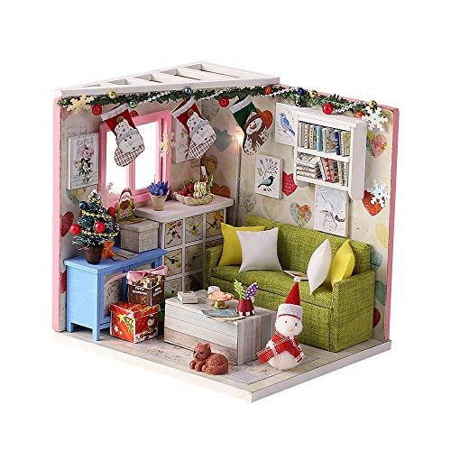 PWTAO DIY Miniature Dollhouse Furniture Kit, 3D Wooden Mini Doll House Accessories Plus Dust Proof, 1:24 Scale Creative Room(Christmas Style)