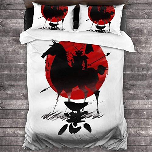 KUKHKU Samurai Jack Aku Shadow Warrior Juego de Cama de 3 Piezas Funda nórdica, Juego de Cama Decorativo de 3 Piezas con 2 Fundas de Almohada C11900