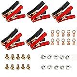 10 Piezas Aislamiento Batería Pinza Roja, Cocodrilo Batería de Coche Clip, Abrazaderas Clips de Batería, para Automóviles, Proyectos Eléctricos, Probadores de Voltaje (Rojo, Negro)