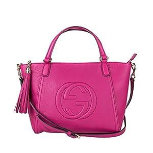 Fashion Shopping Gucci Women's 369176A7M0G5523 FUCHSIA LEATHER HANDBAG