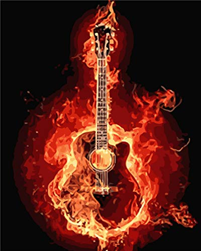 Kit de pintura por números, Amiiba Fire Guitar Music 40,6 x 50,8 cm Pintura acrílica por número Wall Art Crafts (guitarra, con marco)