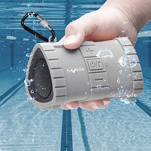 Tingda Bluetooth Lautsprecher, IP67 wasserdichter Lautsprecher, BT 4.2, 15h Spielzeit, eingebautes Mikrofon, Freisprecheinrichtung, 2000 mAh Batterie für Dusche, Pool, Strand, Wandern, Camping-GRAU
