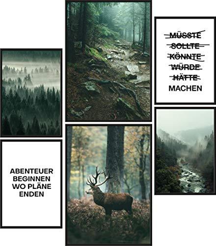 Papierschmiede® Mood-Poster Set Mystic Forest   Bilder als Wanddeko   Wohnzimmer & Schlafzimmer   2X DIN A4 und 4X DIN A5   Wald Fluss Hirsch Grün - ohne Rahmen
