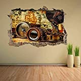 Pegatina de pared 3D, brújula antigua Vintage, binoculares, mapa del mundo, Mural, calcomanía, decoración, póster de impresión artística, decoración 60x90cm