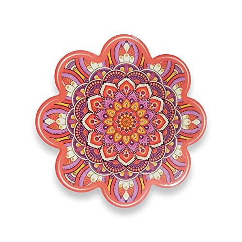 EUROXANTY Posavasos de cerámica | Posavasos Original | Posavasos de colección | Base de Corcho | Buena Estabilidad | Flor mándala de 11 cm | Coral