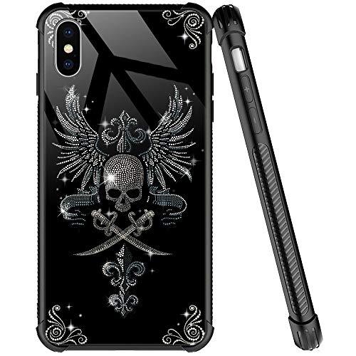 iPhone XR Hülle, Diamant-Totenkopf-Muster, gehärtetes Glas, iPhone XR Hüllen für Mädchen & Frauen, Viereck-Design, kratzfest, stoßfest, kompatibel mit iPhone XR