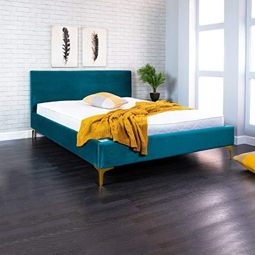 Lune Beds Marco de cama de tela italiana de 1,5 m con colchón de muelles de 2000 de lujo, color azul