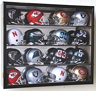 16 Riddell Mini Helmet Display Case Cabinet Wall Rack w/UV Protection & Mirror Back -Black