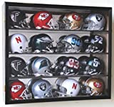 16 Riddell Mini Helmet Display Case Cabinet Wall Rack w/UV Protection & Mirror Back -Black
