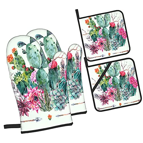 YOLIKA Exotic Natural Vintage Watercolor Bouquet In Boho Style,4Pcs Oven Mitts and Pot Holders Sets,High Heat Resistant Kitchen Oven Gloves with Non-Slip Hot Pads for Cooking,Baking,Grilling