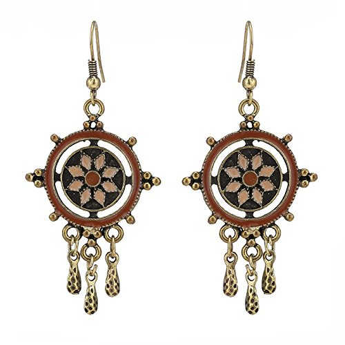 Brass oorbellen antiek gouden cirkels bolletjes bruin hanger