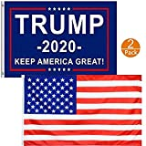 Waybesty President Donald Trump 2020 Flags Blue Keep America Great Trump Flags 3x5 for Front Yard, Garden and Outdoor Double Sided, UV and Weather Resistant, Grommets Double Stitched (2 Pack)