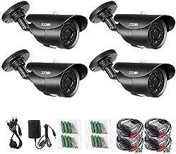 ZOSI 4 Pack 1080p Indoor Outdoor Day Night Vision Weatherproof 42pcs IR Infrared LEDs Security Cameras Kits-3.6mm Lens, 120ft IR Distance, Aluminum Metal Housing (Renewed)