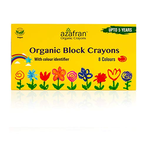Azafran Organic Crayon 8 Colors Pack, Vegan, Plant derived Ingredients, Non Greasy, Food Grade Colours (4.23 Oz)