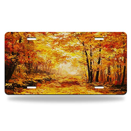 Beabes Autumn Forest Car Front License Plate Colorful Fall Trees Forest Leaves Oil Yellow Nature Landscape Mental Car Plate Tag for US Standard Vehicles Decor Aluminum Novelty 6 X 12 Inch