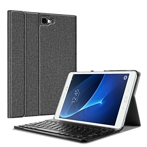Fintie Tastatur Hülle für Samsung Galaxy Tab A 10,1 2016 T580N/ T585N Tablet - Ultradünn leicht Schutzhülle mit magnetisch Abnehmbarer Drahtloser Deutscher Bluetooth Tastatur, Jeansoptik dunkelgrau