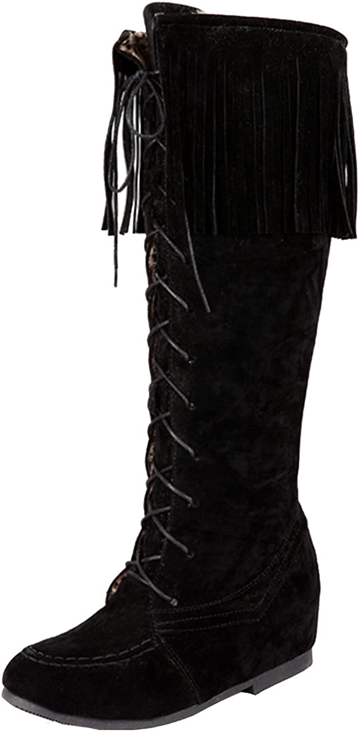 AIYOUMEI Women's Fashion Round Toe Lace-up Solid Increased Internal Tassel Wedges Autumn Winter Knee High Boots