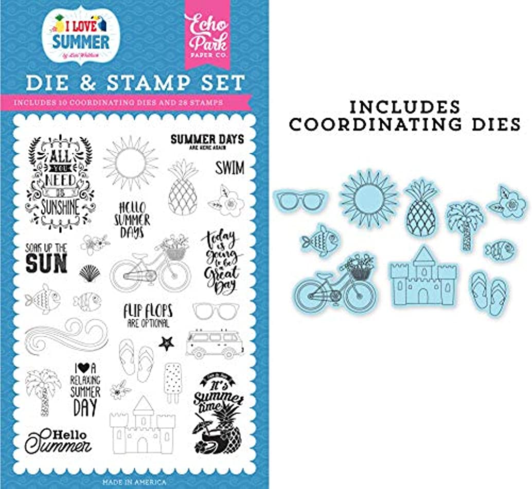 Echo Park Paper Company SU178042 It's Summer Time Die & Stamp Set die, Stamp Pink, Teal, Green, Yellow, Blue, red