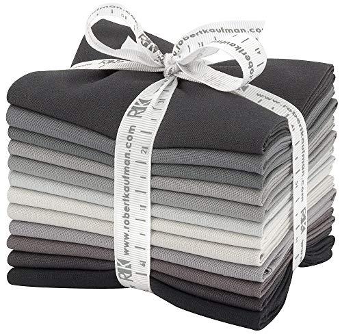 Robert Kaufman Kona Cotton Solids Stormy Skies Fat Quarter Bundle 12 Precut Cotton Fabric Quilting FQs Assortment FQ-1373-12