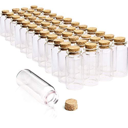 Wandefol 55 bottiglie vetro piccole con tappo di sughero Mini bottiglietta 10ml (5cm x 2cm) bomboniera per Lavanda bigliettini Sabbia Perline Liquido spezie, boccettine fiala Vaso