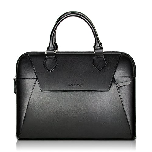Arvok 13 13.3 Inch PU Leather Laptop Bag With Handle & Zipper Pocket/Water-resistant Notebook Computer Case/Ultrabook Tablet Briefcase Carrying Sleeve For MacBook/Acer/Asus/Dell/Lenovo/HP/Samsung/Sony