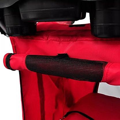 vidaXL Folding Pet Stroller Red Dog Cat Travel Carrier Transport Trolley Pram 4