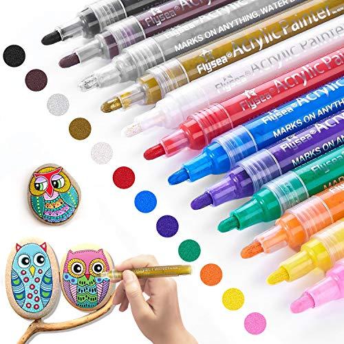 Acrylstifte Marker Stifte, 12 Farben Premium Wasserfest Paint Marker Set Wasserfest Permanent Art Filzstift Acrylic Painter für DIY Stein, Leinwand, Papier, Glasmalerei, Metall, Fotoalbum uvm