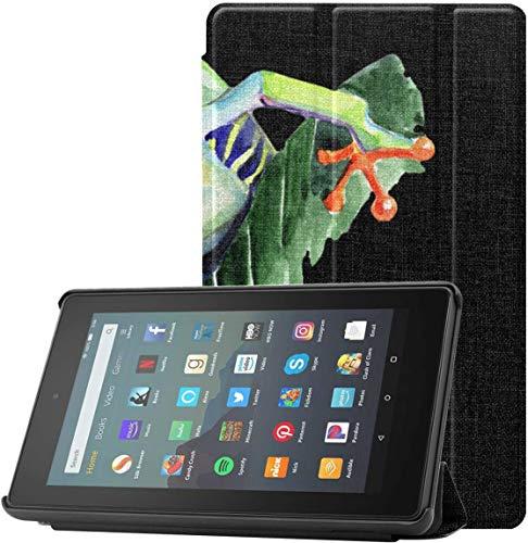 Funda para Kindle Green Tree Frog 2019 Fire 7 Funda para Tableta Fire 7 (novena generación, versión 2019) con suspensión/activación automática