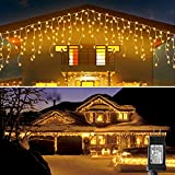 Blingstar Icicle Lights 33Ft 300 Led 8 Modes Christmas Lights Plug in Warm White String Lights for Christmas Wedding Party Home Garden Bedroom Indoor Outdoor Decoration