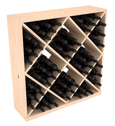 Wine Racks America Pine 82 Bottle Solid Diamond Cube Rack. Unstained