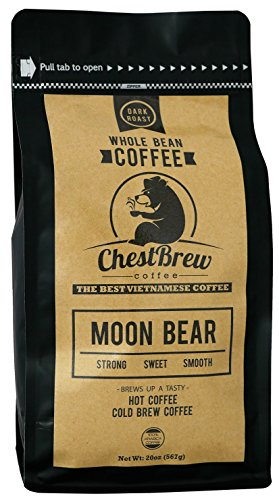 Chestbrew Whole Bean Coffee. Strong Dark Roast Vietnamese Coffee - Moon Bear Premium 20 Ounce Bag