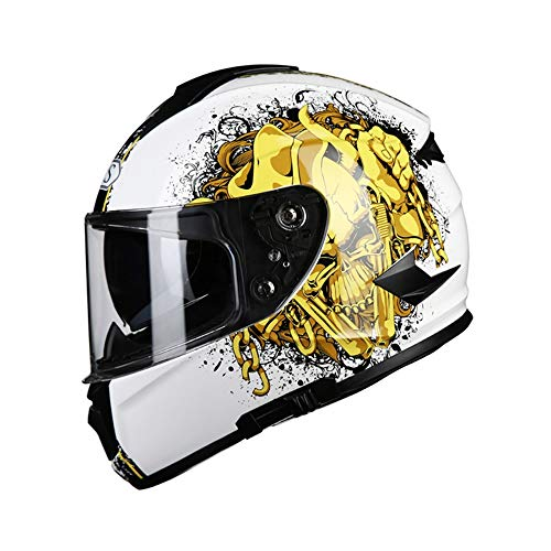 Stella Fella Helmets Men ABS White Motorcycle Helmet Male Full Cover Four Seasons Locomotive Electric Car Full Face Helmet Anti-fog Double Lens Gold Skull Pattern (Size : L)