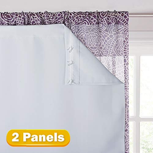 KGORGE Thermal Insulated Blackout Liners - Black Out Curtain Liners for 84 inches Drapes, Light/Heat/Sun Blocking Liner Curtains (2 Panels, 27' Width X 80' Length, Grayish White, Bonus Hooks
