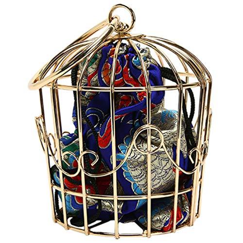 ABOOFAN Femmes Chaîne Sac à Bandoulière en Fer Embrayage Cage Creuse avec Bretelles de Cage à Oiseaux Nouveauté Style Ethnique Sac Fourre-Tout à Bandoulière Cadeau pour Femme Fille
