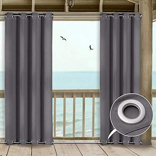 Clothink Outdoor Vorhang - B:132xH:245cm Grau - mit Ösen Oben und Unten - Winddicht Wasserabweisend Sichtschutz Sonnenschutz