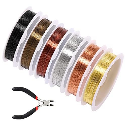 6 rollos Alambre de cobre, Alambre para abalorios de joyería alambre para manualidades con alicates diagonales para joyería, para manualidades, suministros para hacer joyas 0.8mm