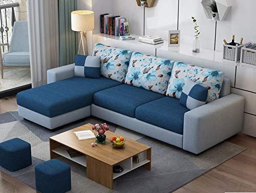 Casaliving Rolando L Shape Modern Fabric Sofa Set for Living Room, Navy Blue and Grey